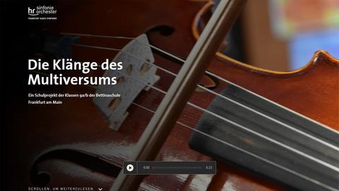 """Screenshot der Startseite der Multimedia-Dokumentation """"Die Klänge des Multiversums"""""""