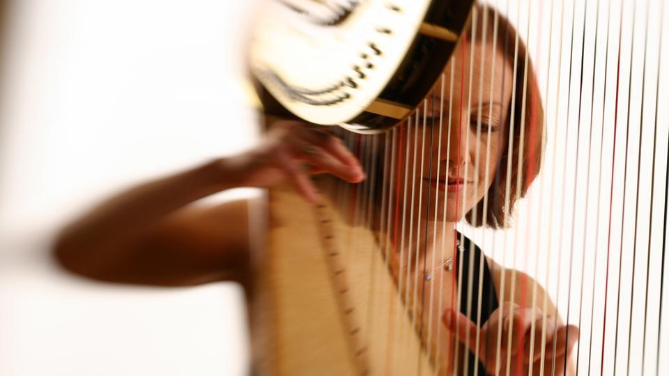 Harfinistin spielt ihr Instrument